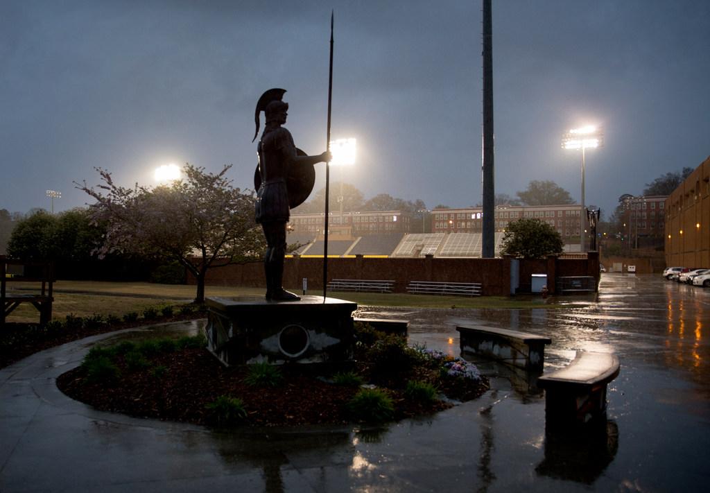 The Spartan statue in the rain