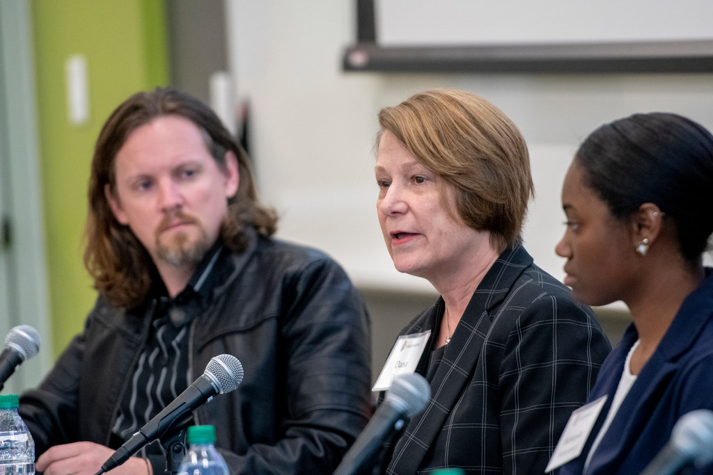"Filmmaker Adam Fendersen, Provost Dana Dunn, and McNair Scholar and psychology major McKayla Bohannon were among those in a panel discussion about ""Unlikely"" film."
