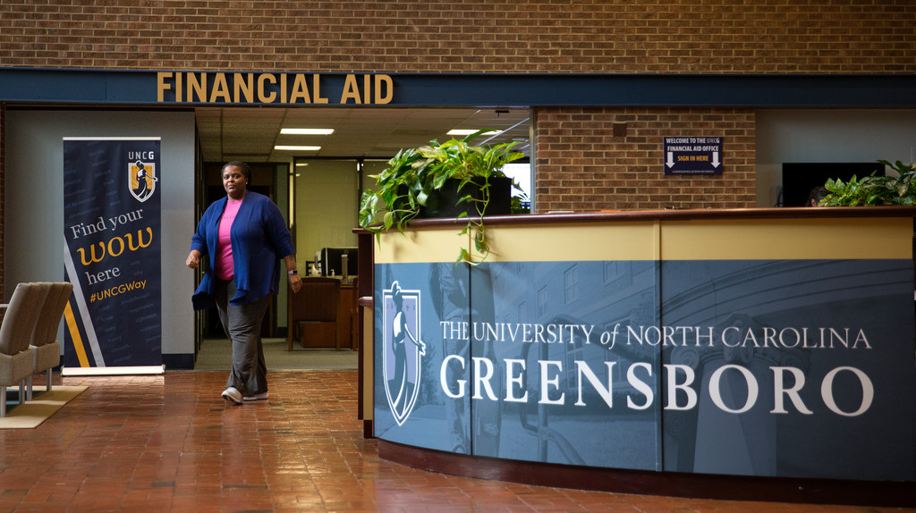 DeeDee Carter, senior financial aid counselor, in the Mossman Building.